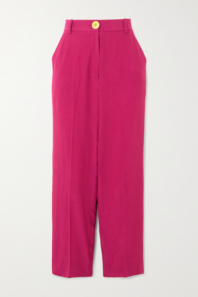Bouguessa Cropped Crepe Straight-leg Pants In Magenta