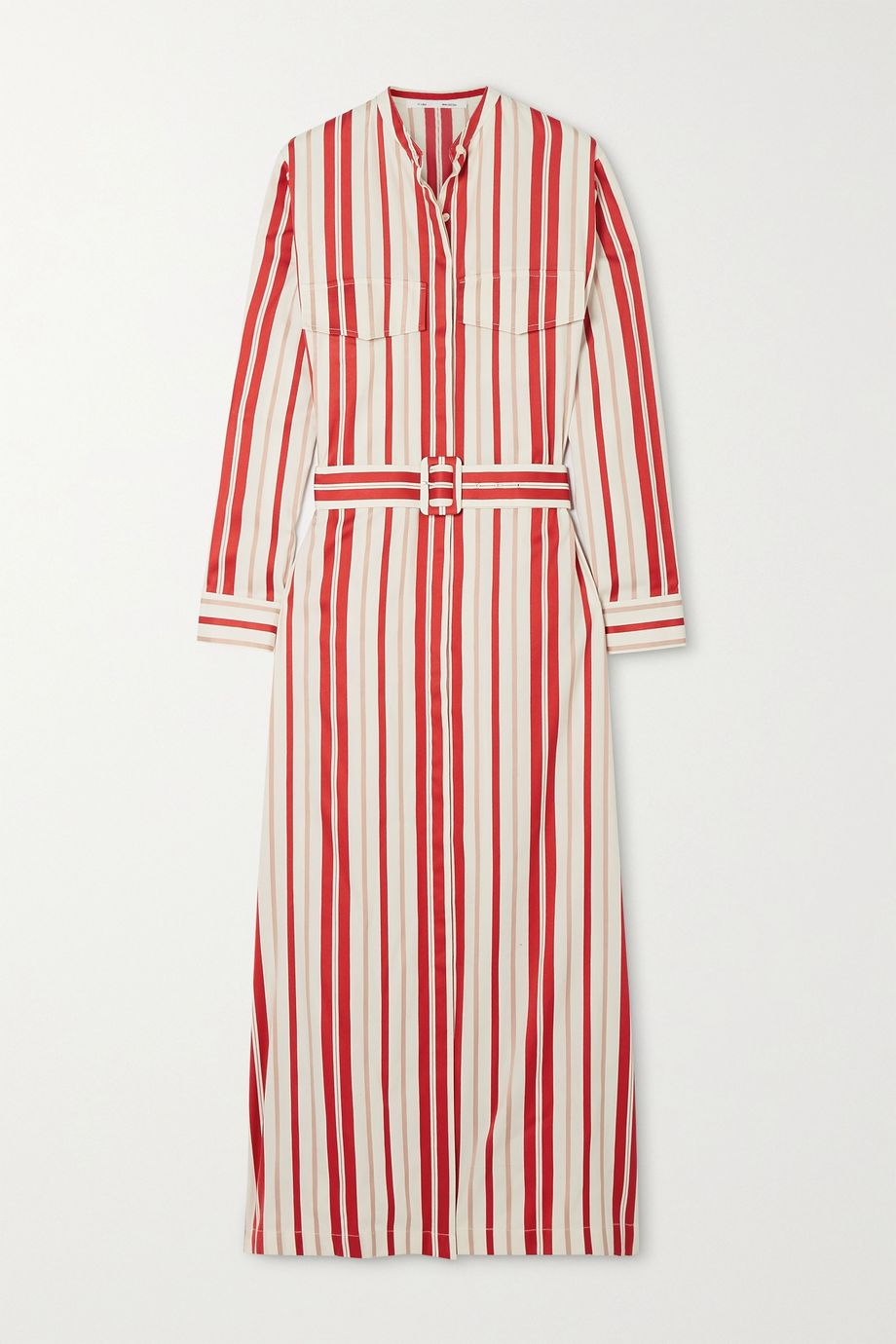 Bouguessa Belted striped poplin midi shirt dress