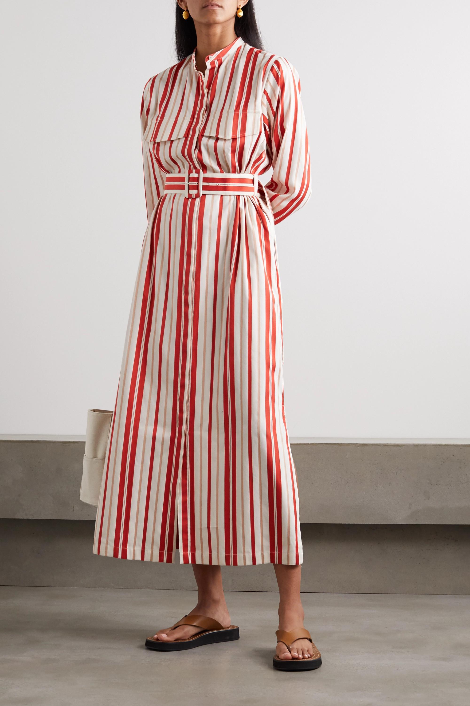 Bouguessa Belted striped poplin midi shirt dress