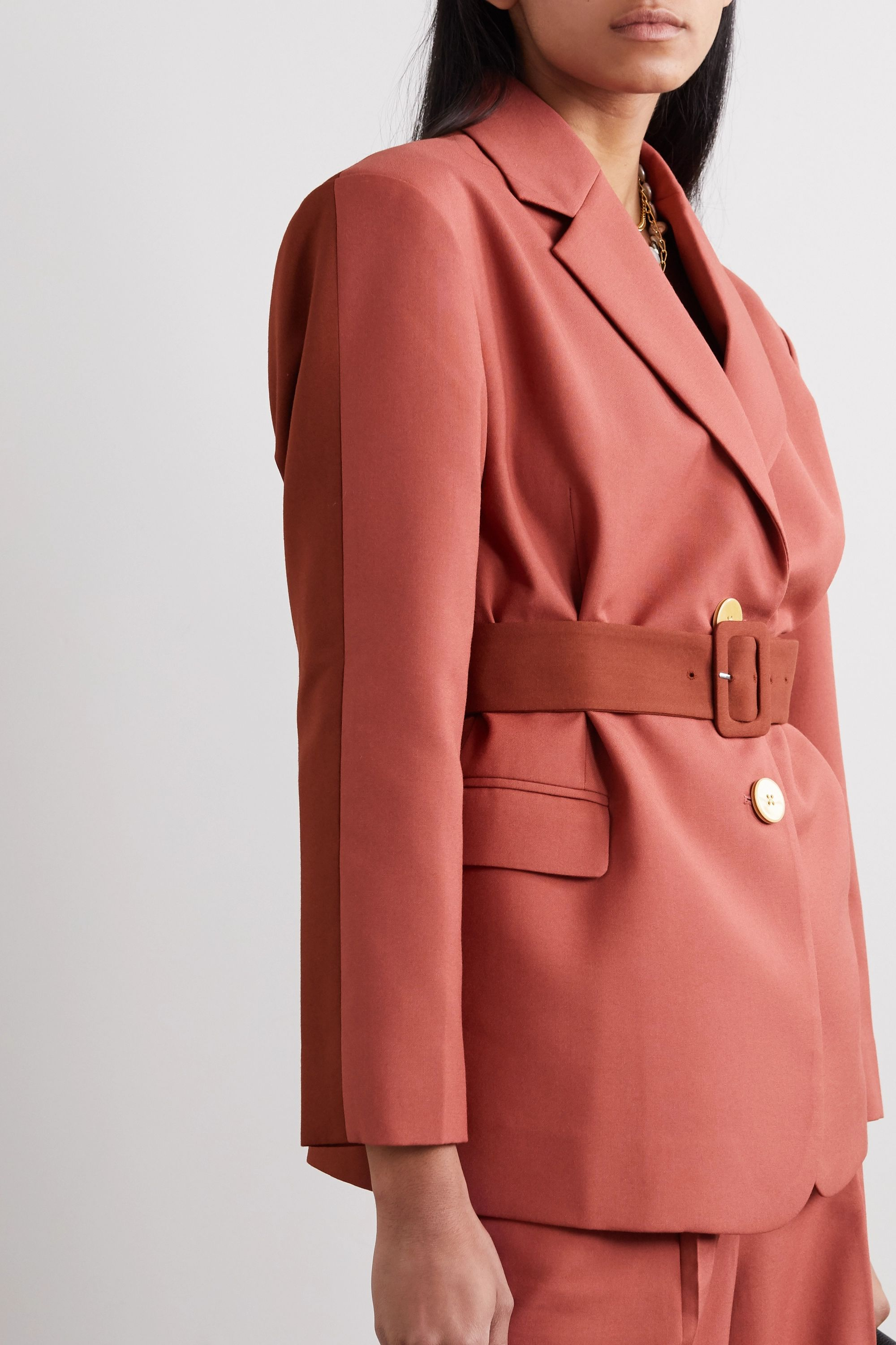 Bouguessa Belted two-tone cady blazer