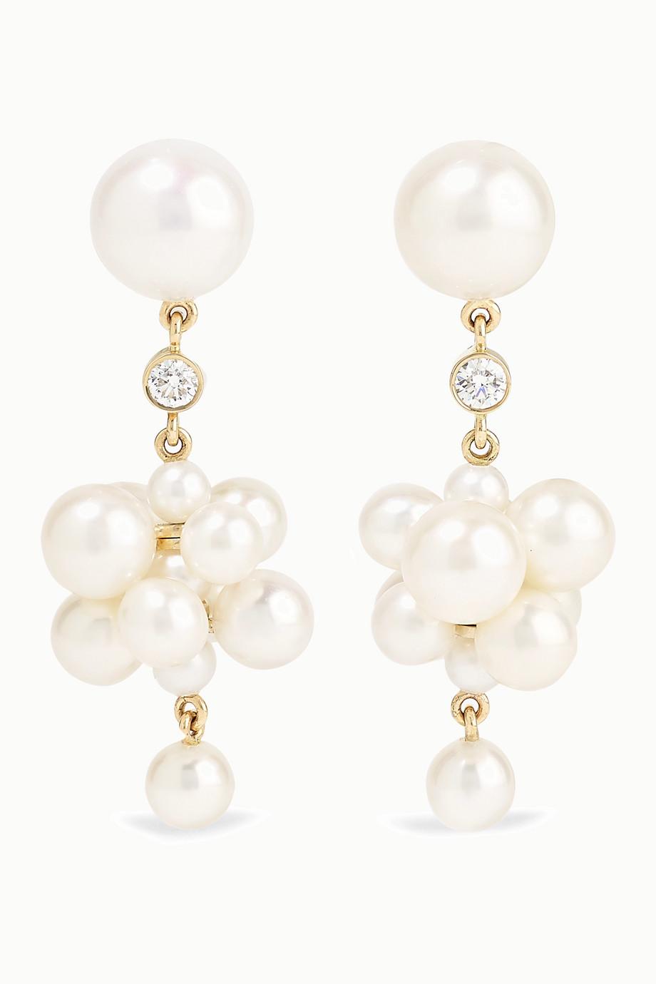 Sophie Bille Brahe Botticelli 14-karat gold, pearl and diamond earrings