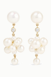 Botticelli 14-karat gold, pearl and diamond earrings