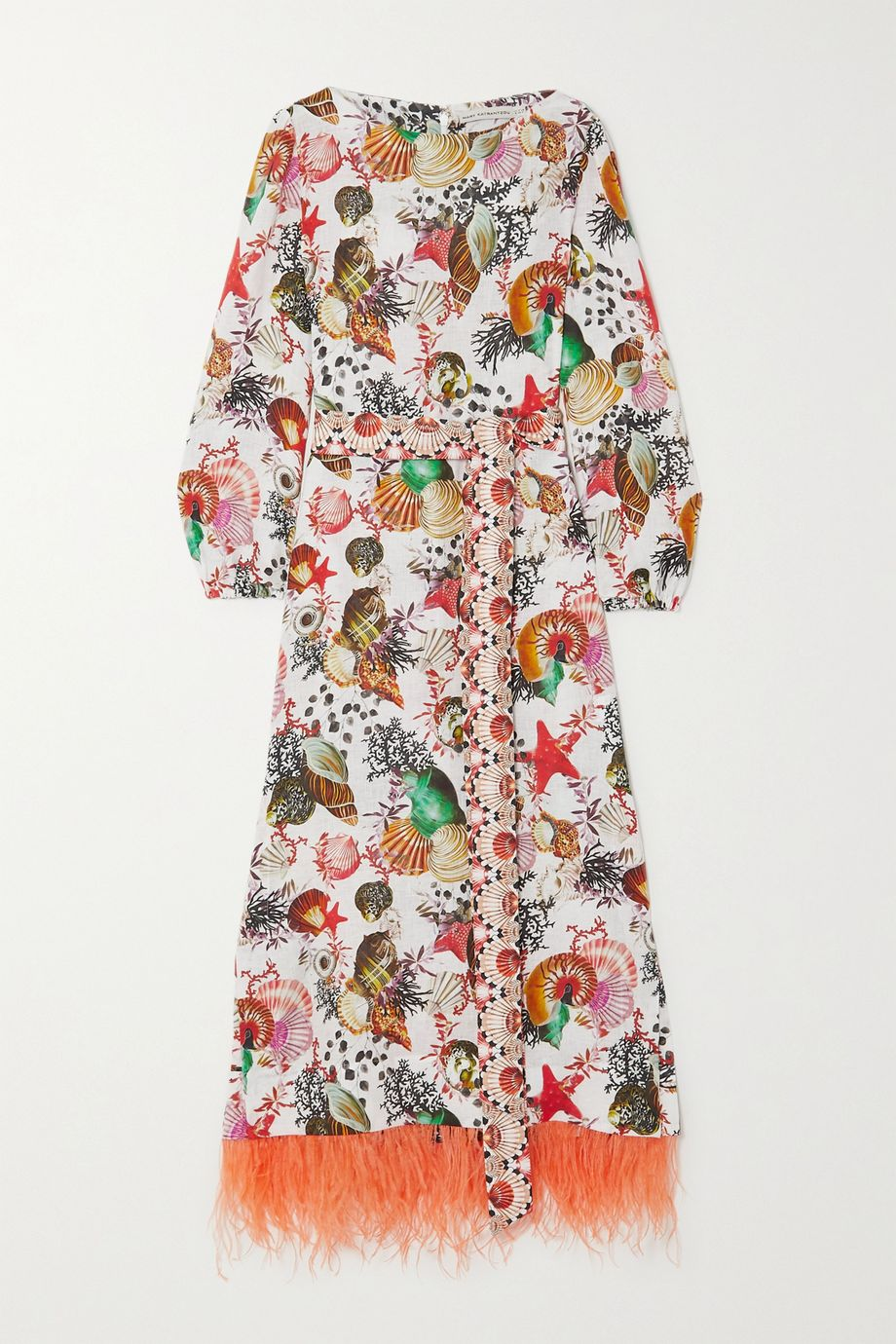 Mary Katrantzou MARY-MARE Firenze belted feather-trimmed printed linen maxi dress