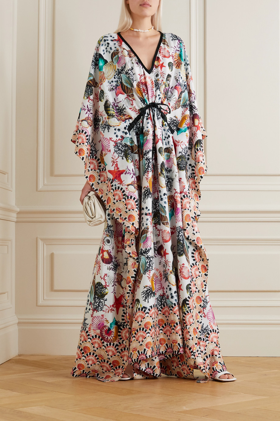 Mary Katrantzou MARY-MARE Tropez 大廓形印花真丝缎面斜纹布长罩衫裙