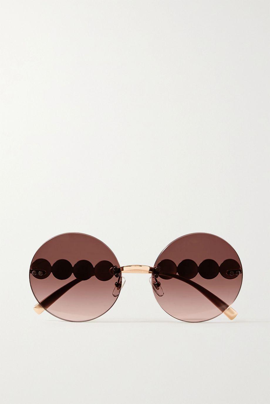 Versace Round-frame rose gold-tone sunglasses