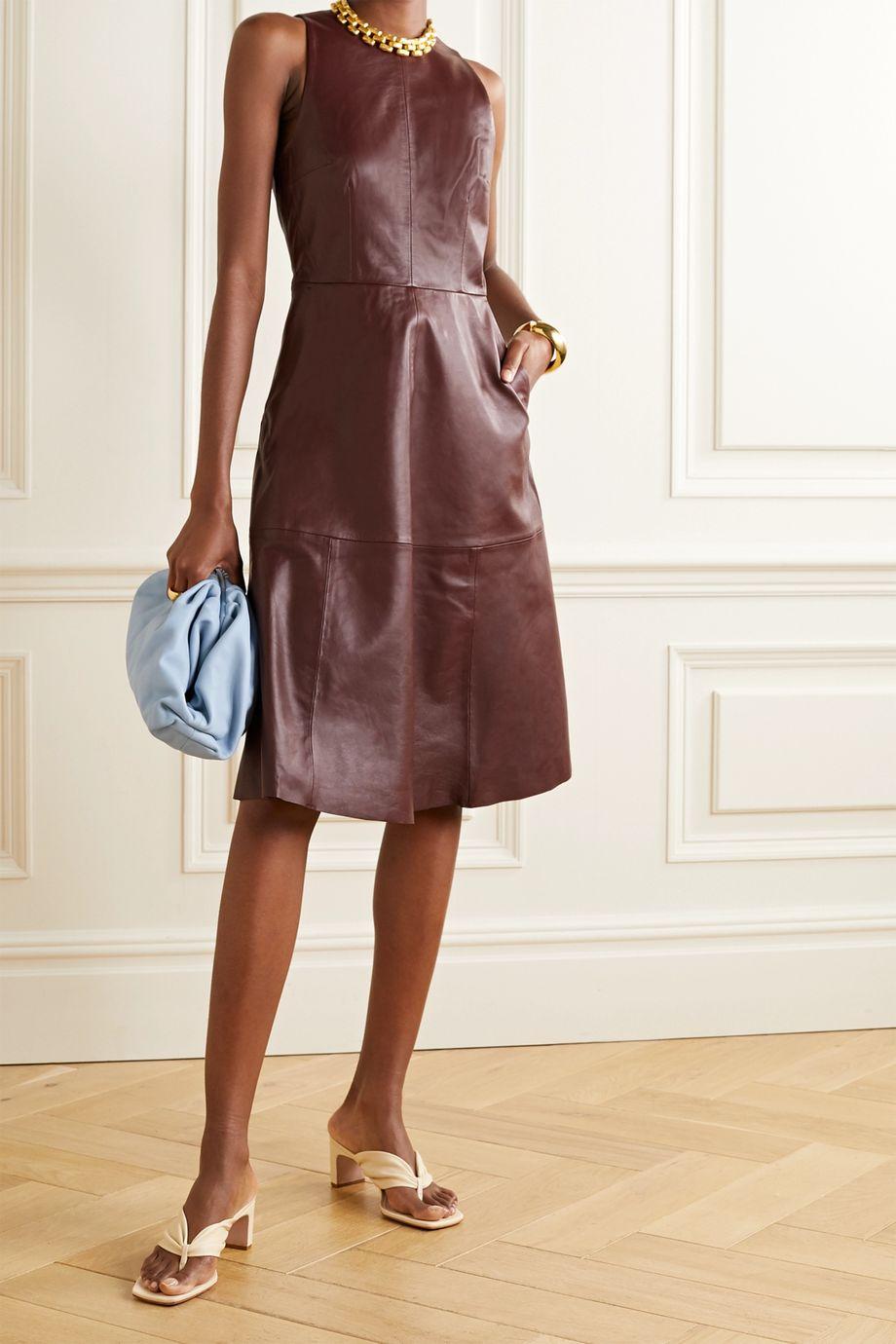 REMAIN Birger Christensen Portia leather midi dress