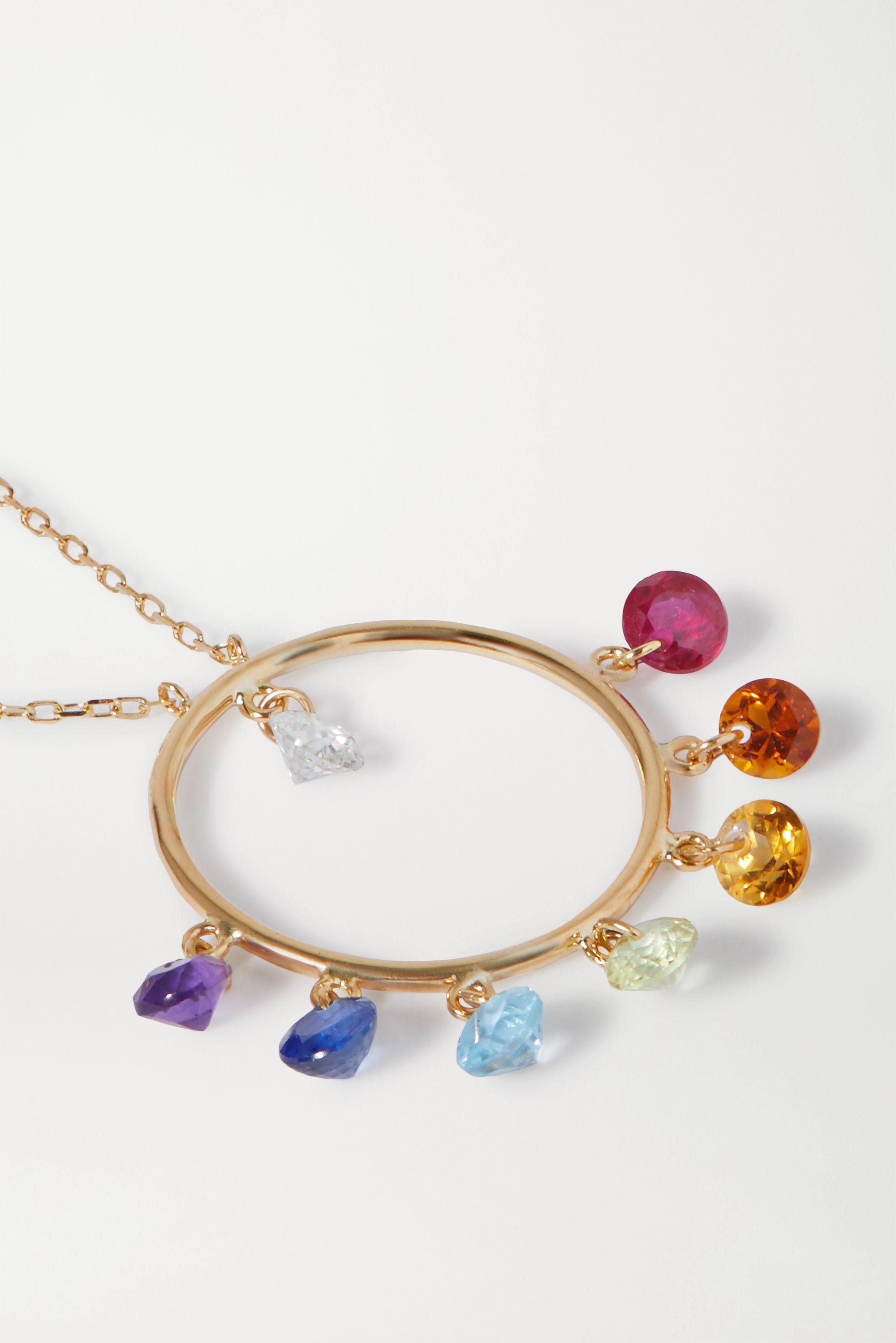 Persée 18-karat gold multi-stone necklace