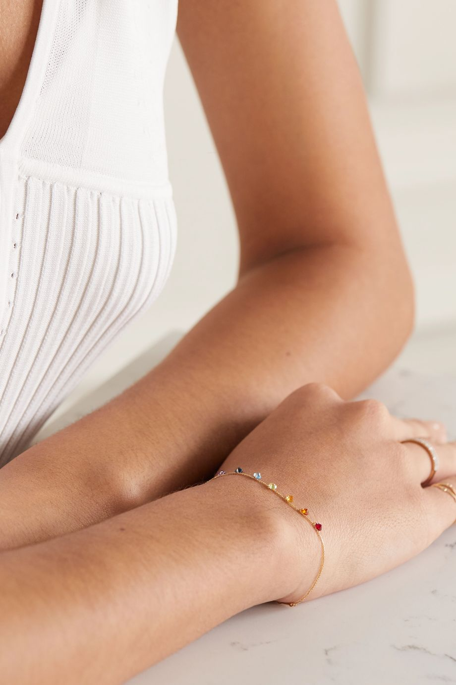 Persée 18-karat gold multi-stone bracelet