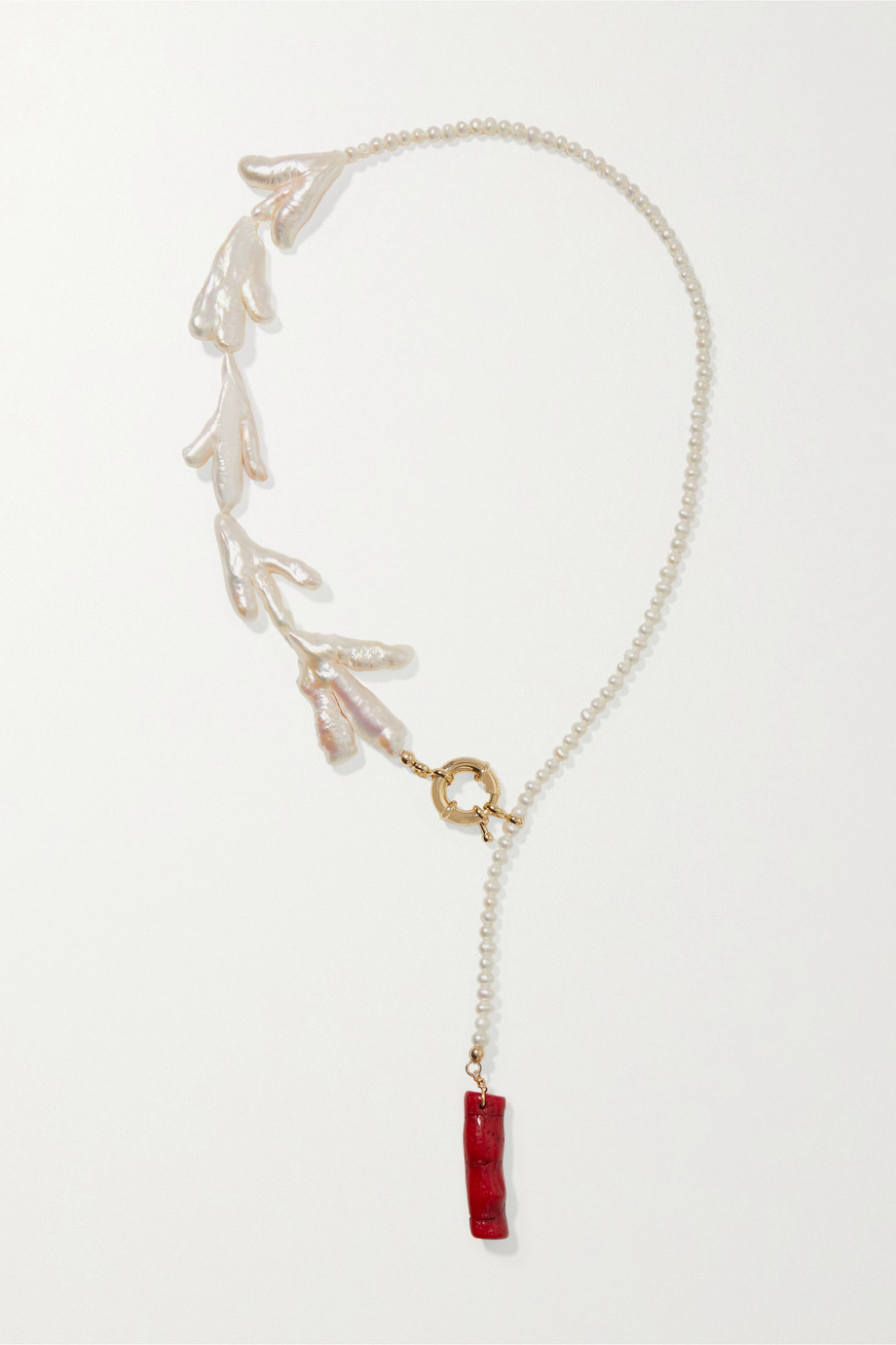 éliou Bari gold-plated, pearl and bamboo necklace