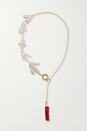 Bari gold-plated, pearl and bamboo necklace