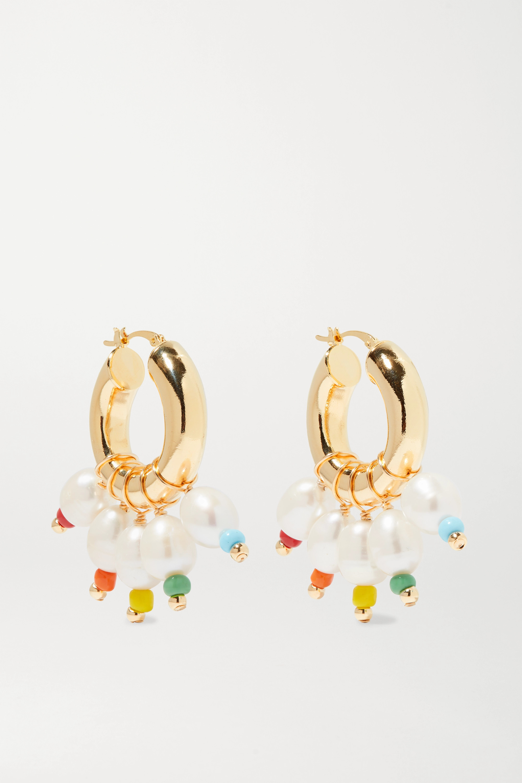 éliou Gold-tone, bead and pearl hoop earrings