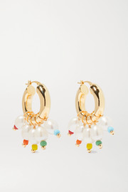 Gold-tone, bead and pearl hoop earrings