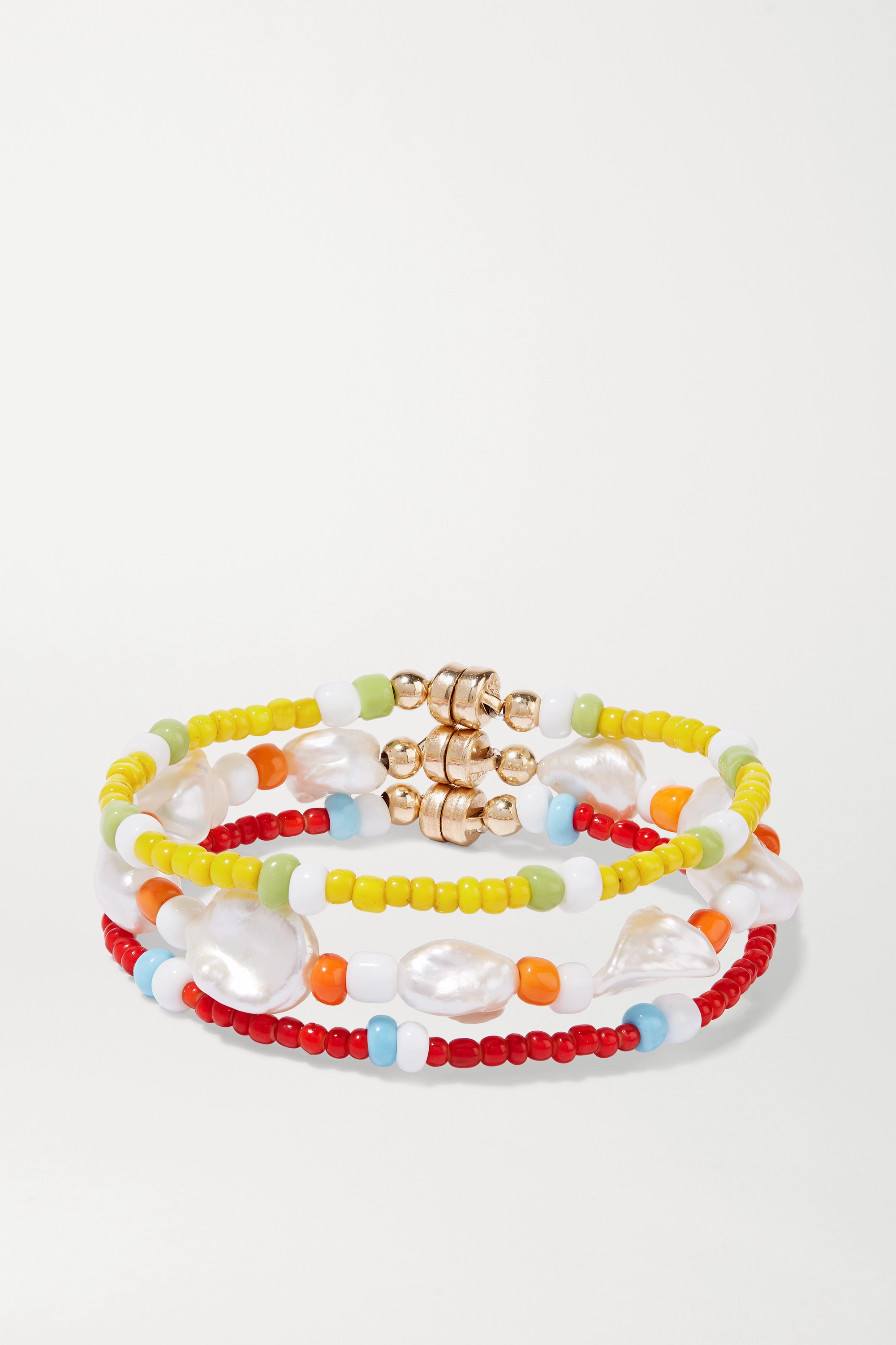 éliou Set of three gold-tone, pearl and bead bracelets