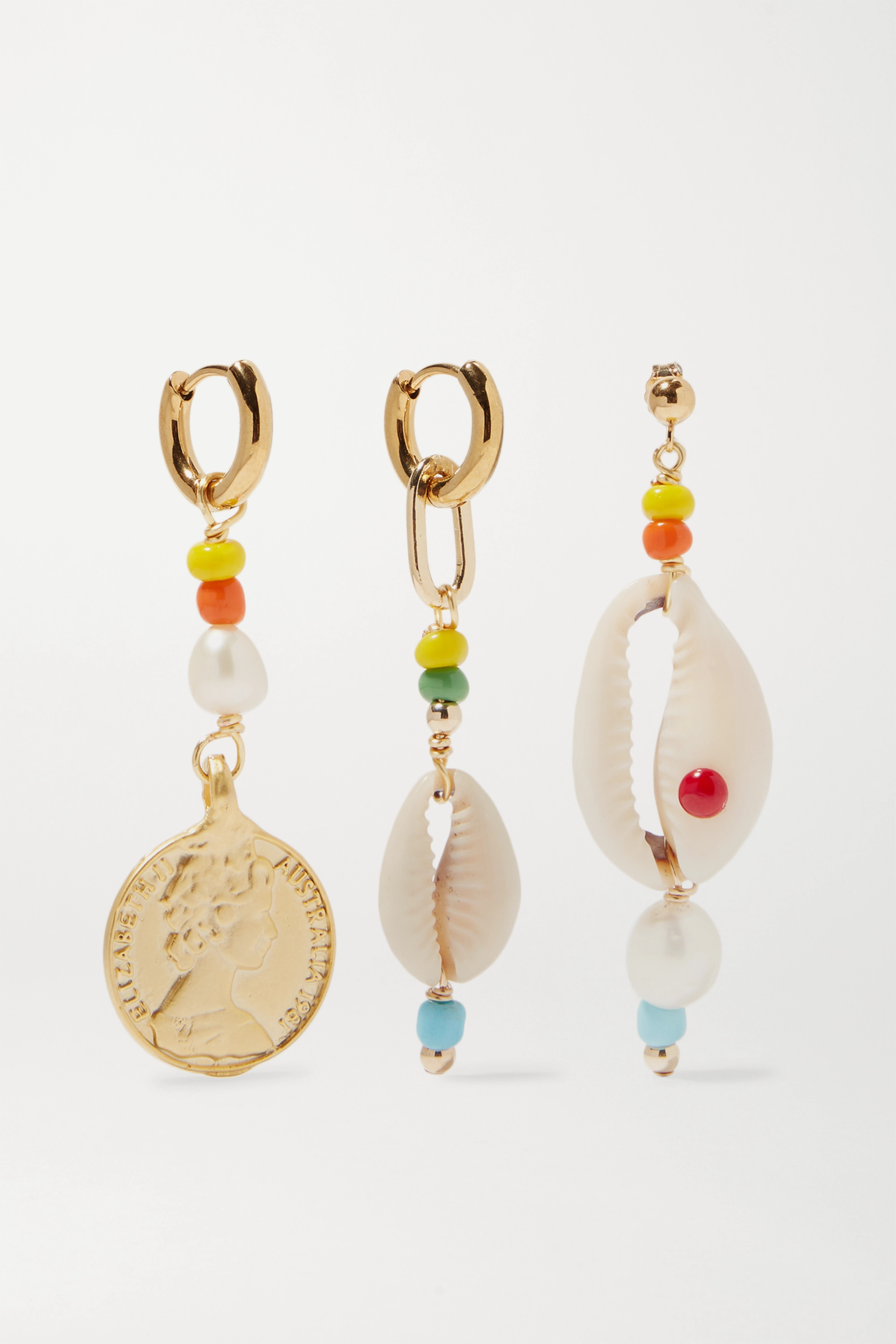 éliou Siena set of three gold-tone bead, pearl and shell earrings