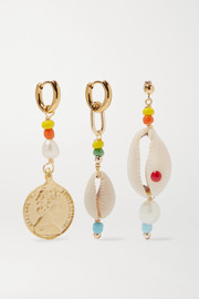 Siena set of three gold-tone bead, pearl and shell earrings