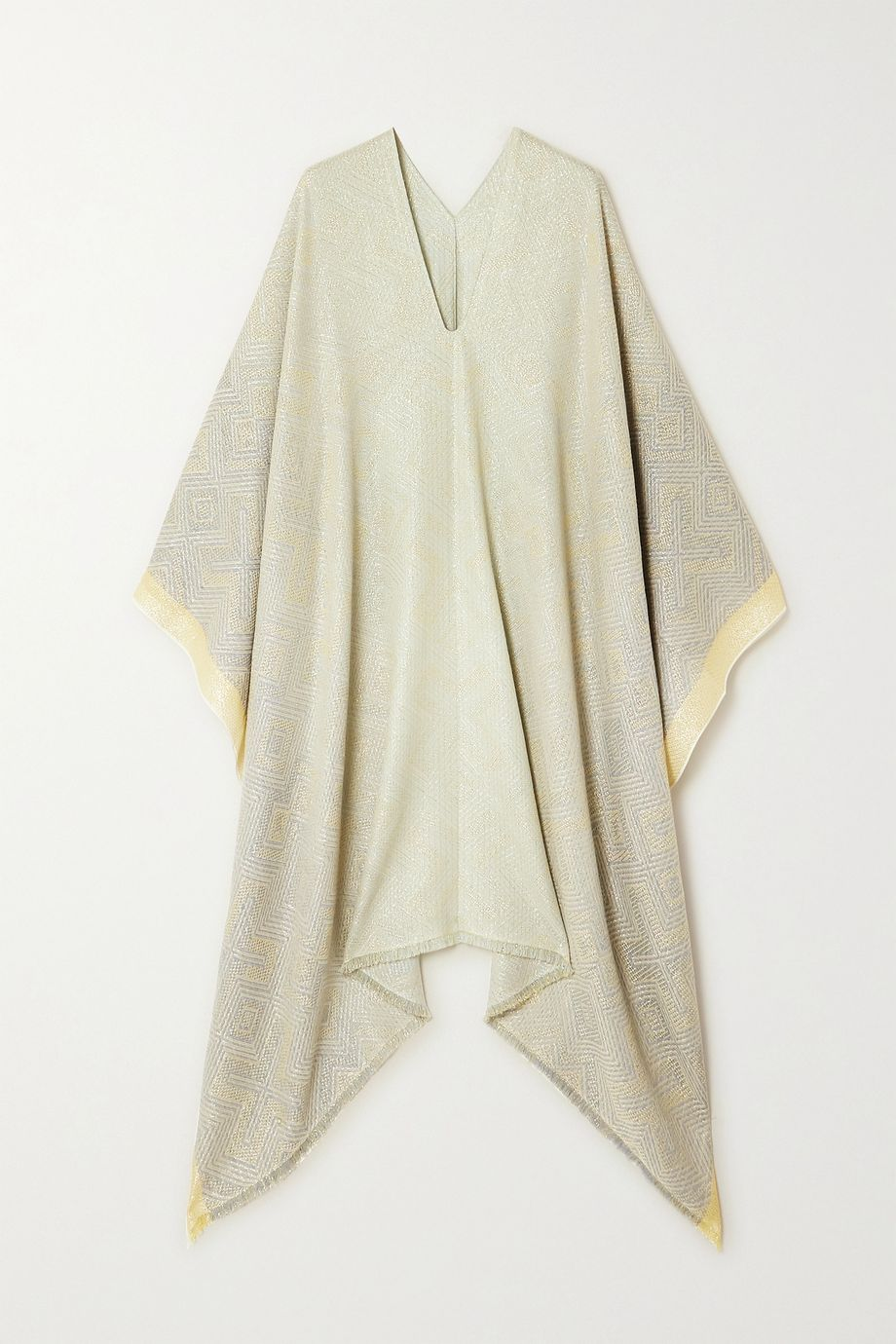 Missoni Fringed metallic wool-blend jacquard poncho