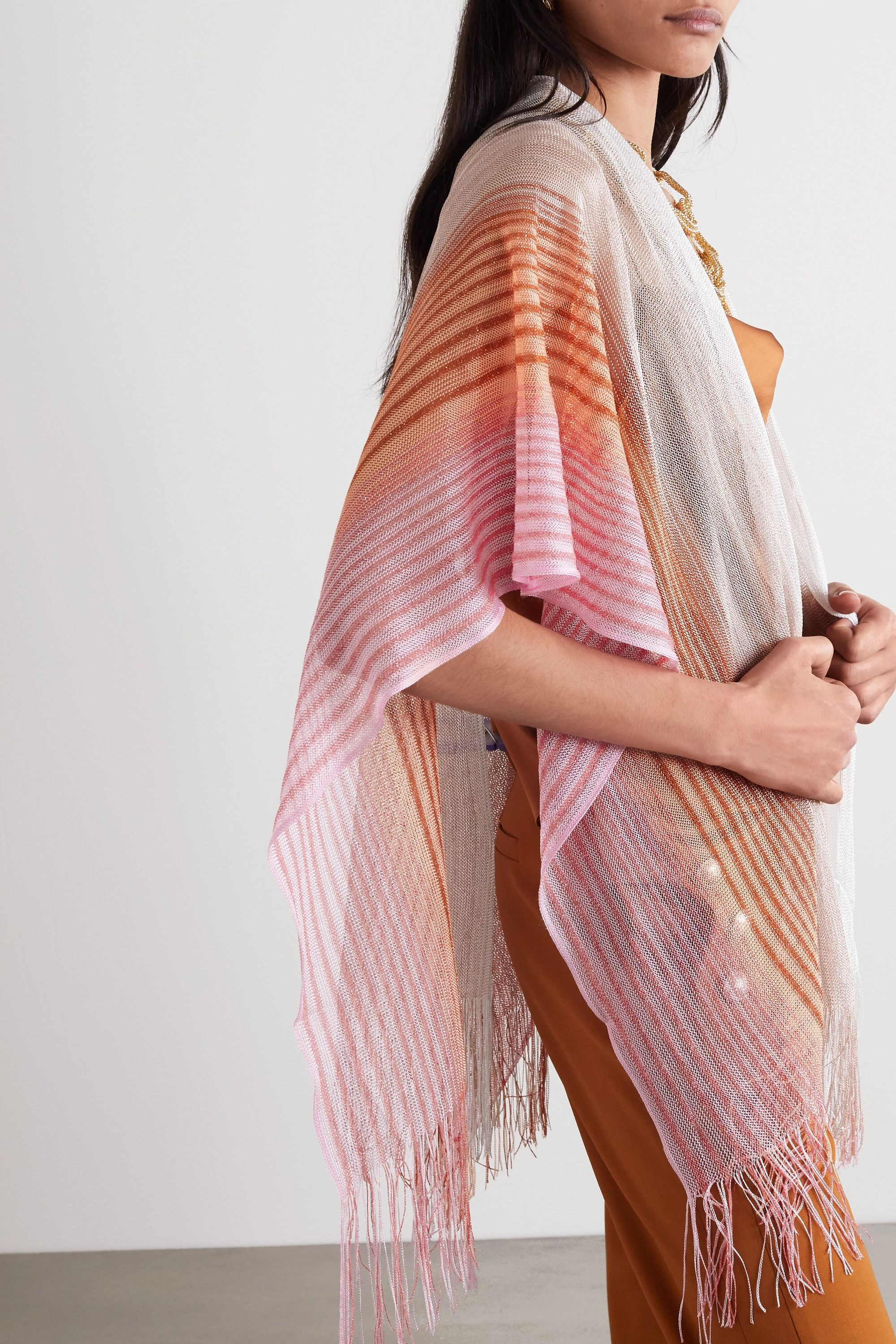 Missoni Fringed striped metallic crochet-knit wrap