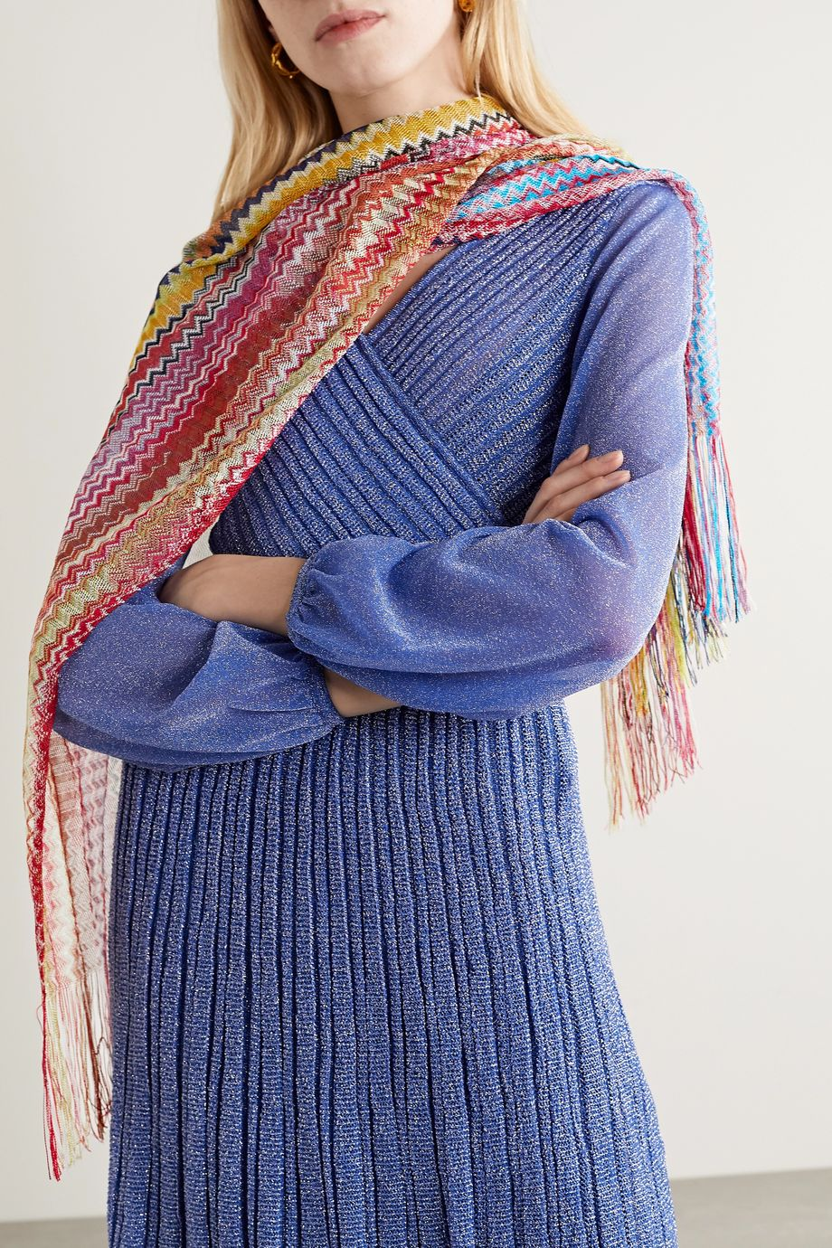 Missoni Fringed crochet-knit scarf