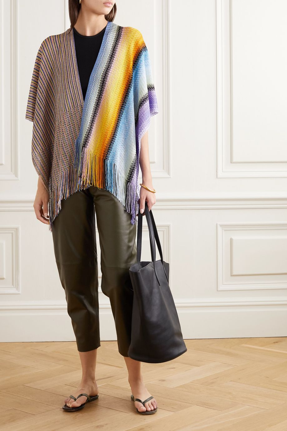 Missoni Fringed striped crochet-knit wrap