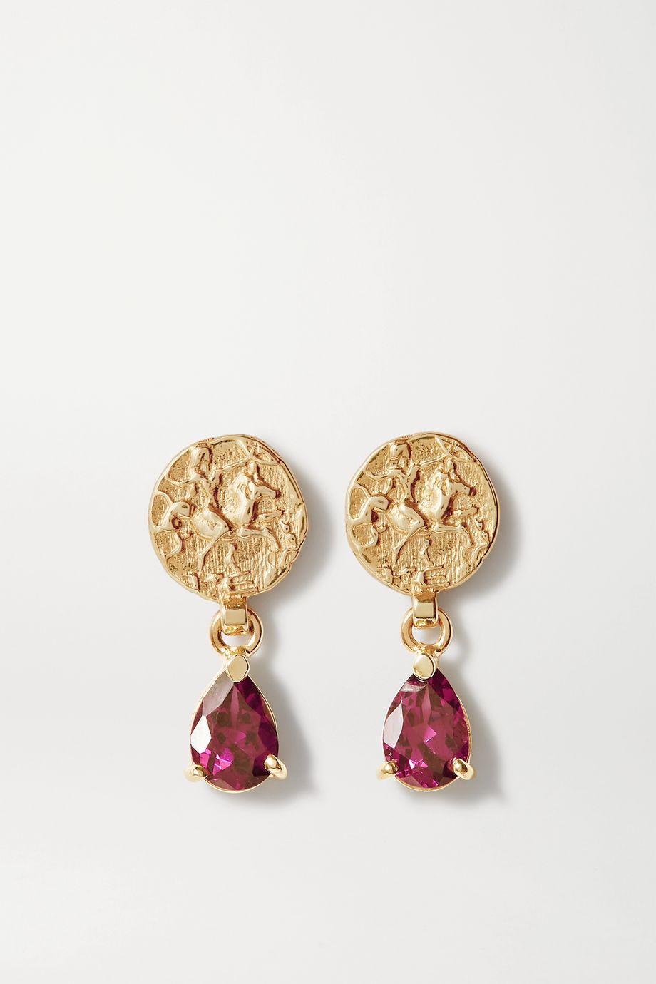 Natasha Schweitzer Coin Ohrringe aus 9 Karat Gold mit Granaten