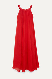 Evangeline off-the-shoulder pleated ramie maxi dress