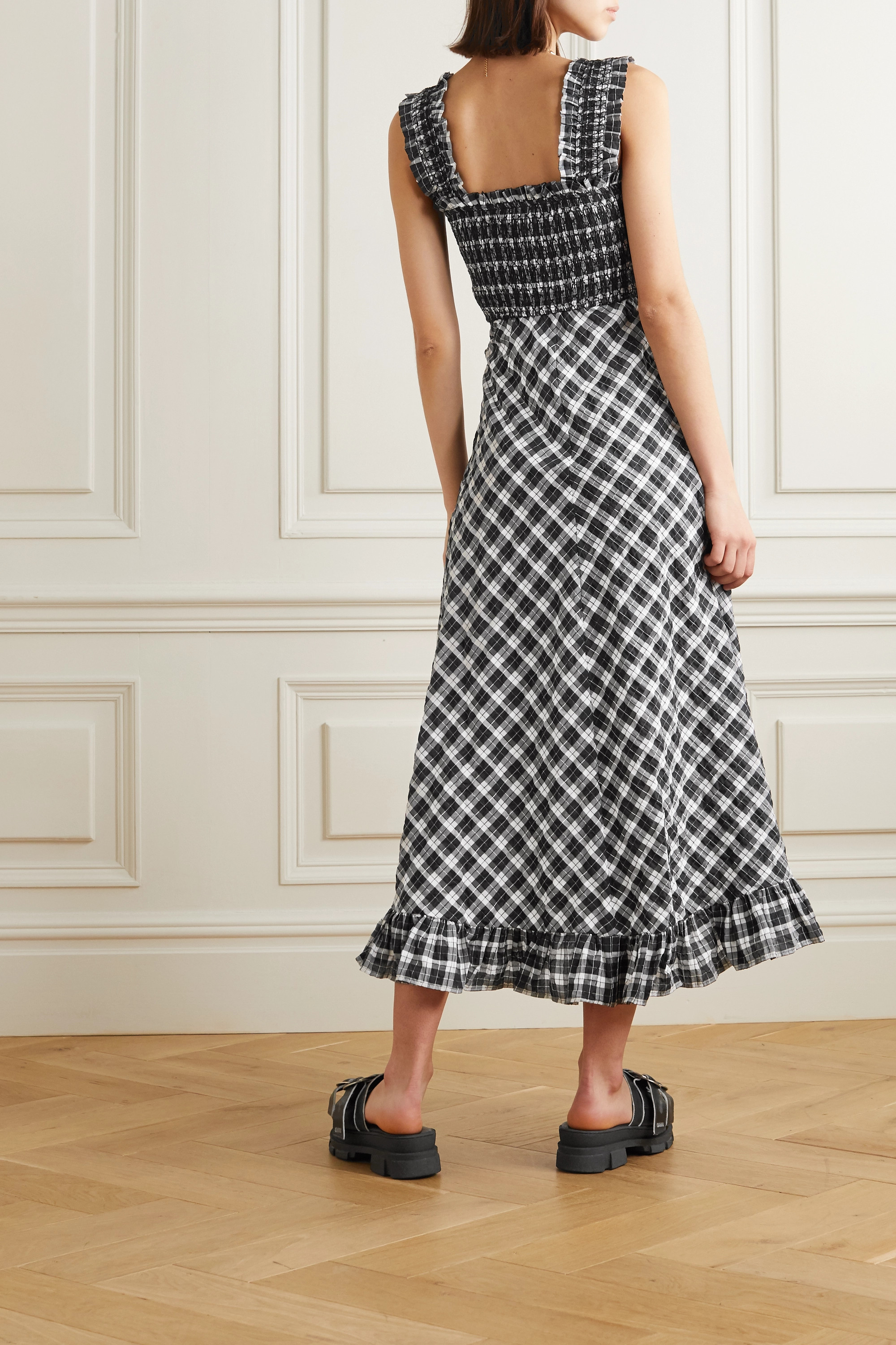 GANNI Smocked checked cotton-blend seersucker maxi dress