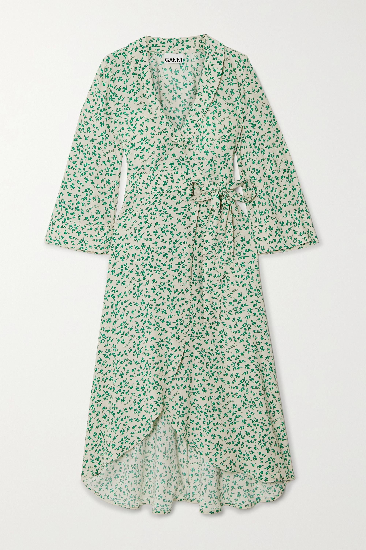 GANNI Floral-print crepe wrap dress