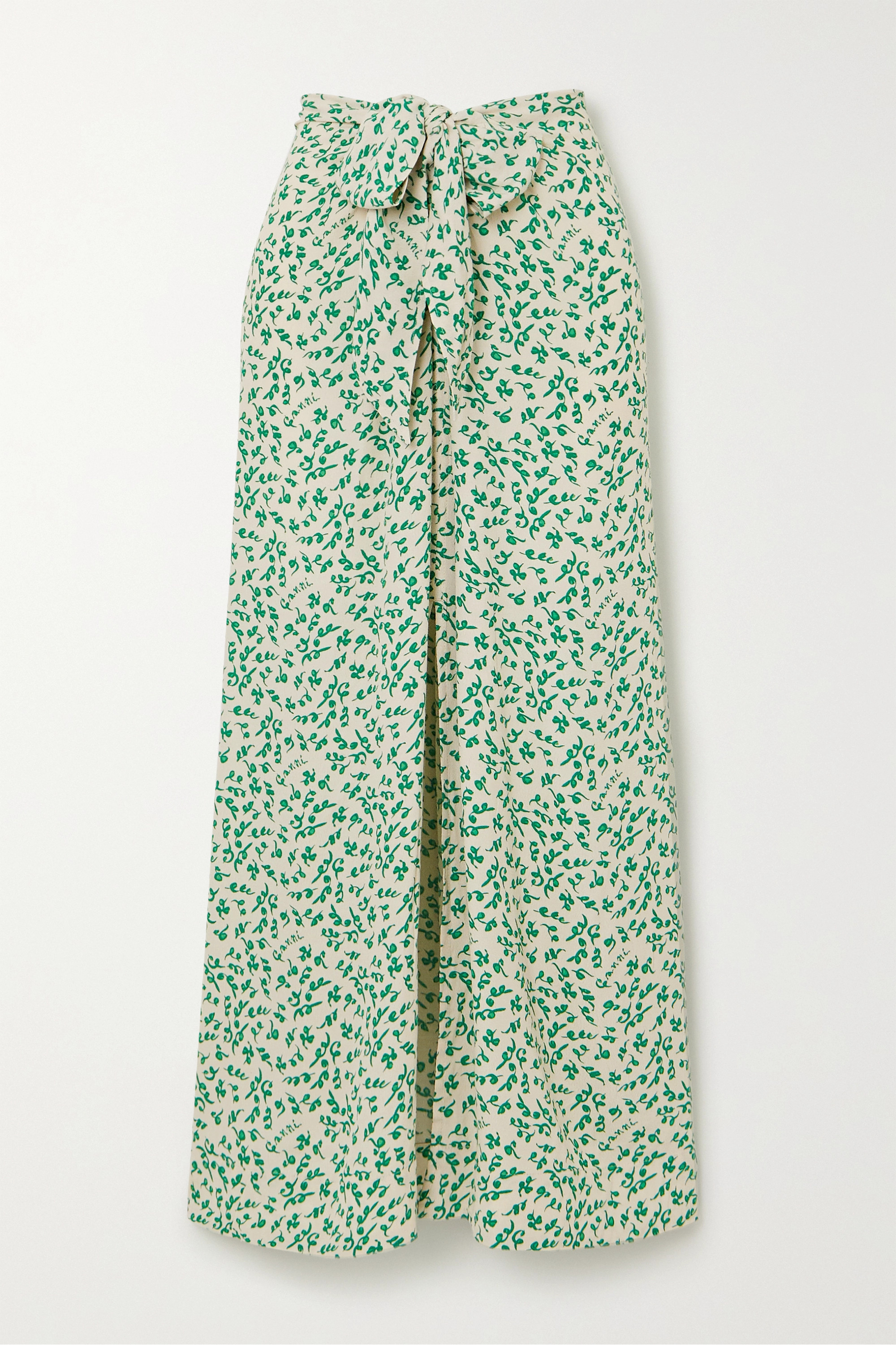 GANNI Tie-front floral-print crepe midi skirt