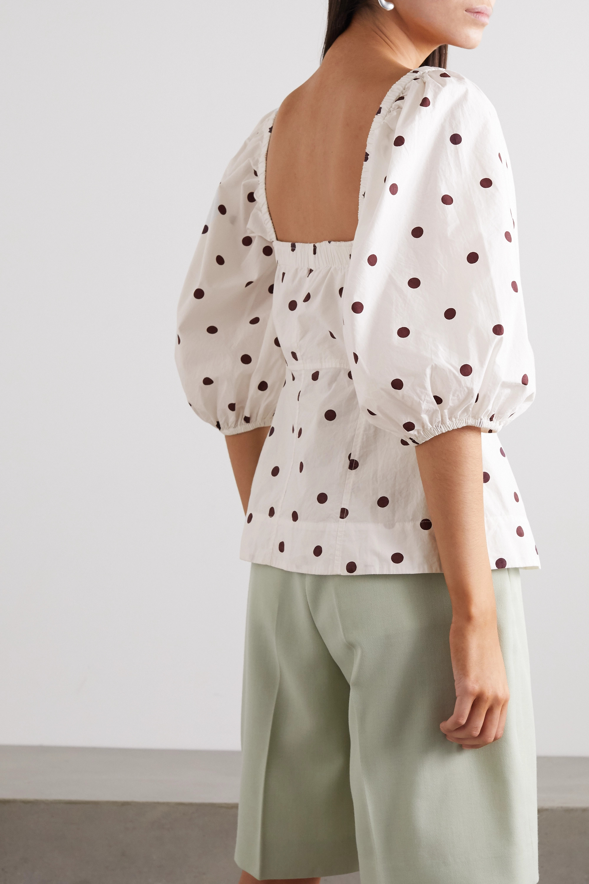 GANNI Polka-dot cotton-poplin blouse