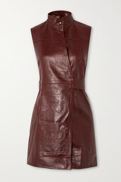 Ganni Sleeveless Lamb-leather Wrap Dress In Brown
