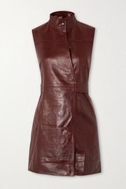 GANNI Leather wrap mini dress
