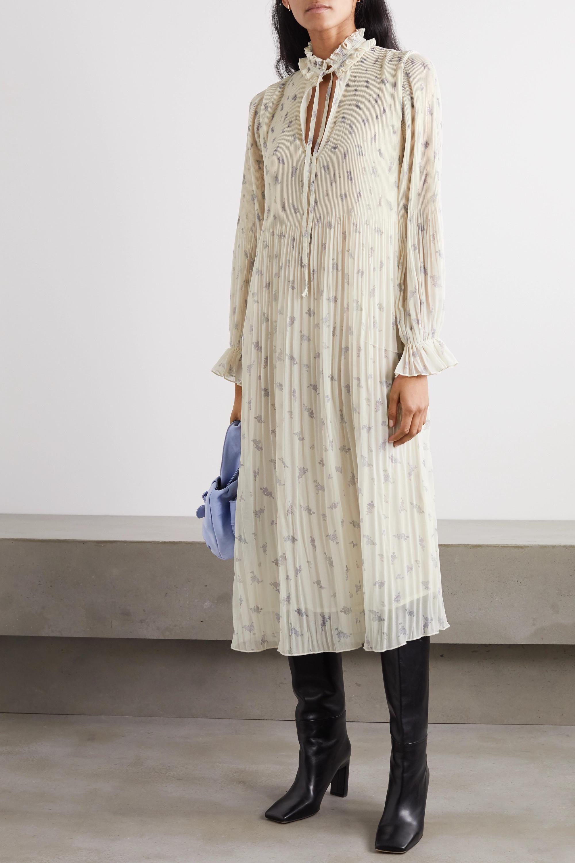 GANNI Ruffled floral-print plissé-georgette midi dress