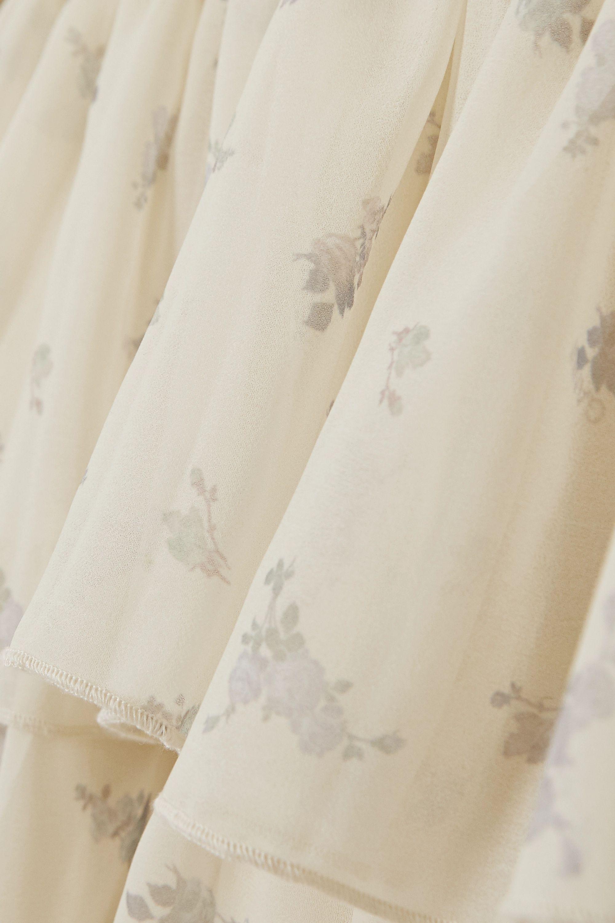 GANNI Gestuftes Minikleid aus Georgette mit Blumenprint und Rüschen