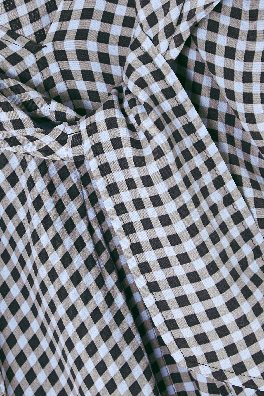 GANNI Tie-front checked crepe midi skirt
