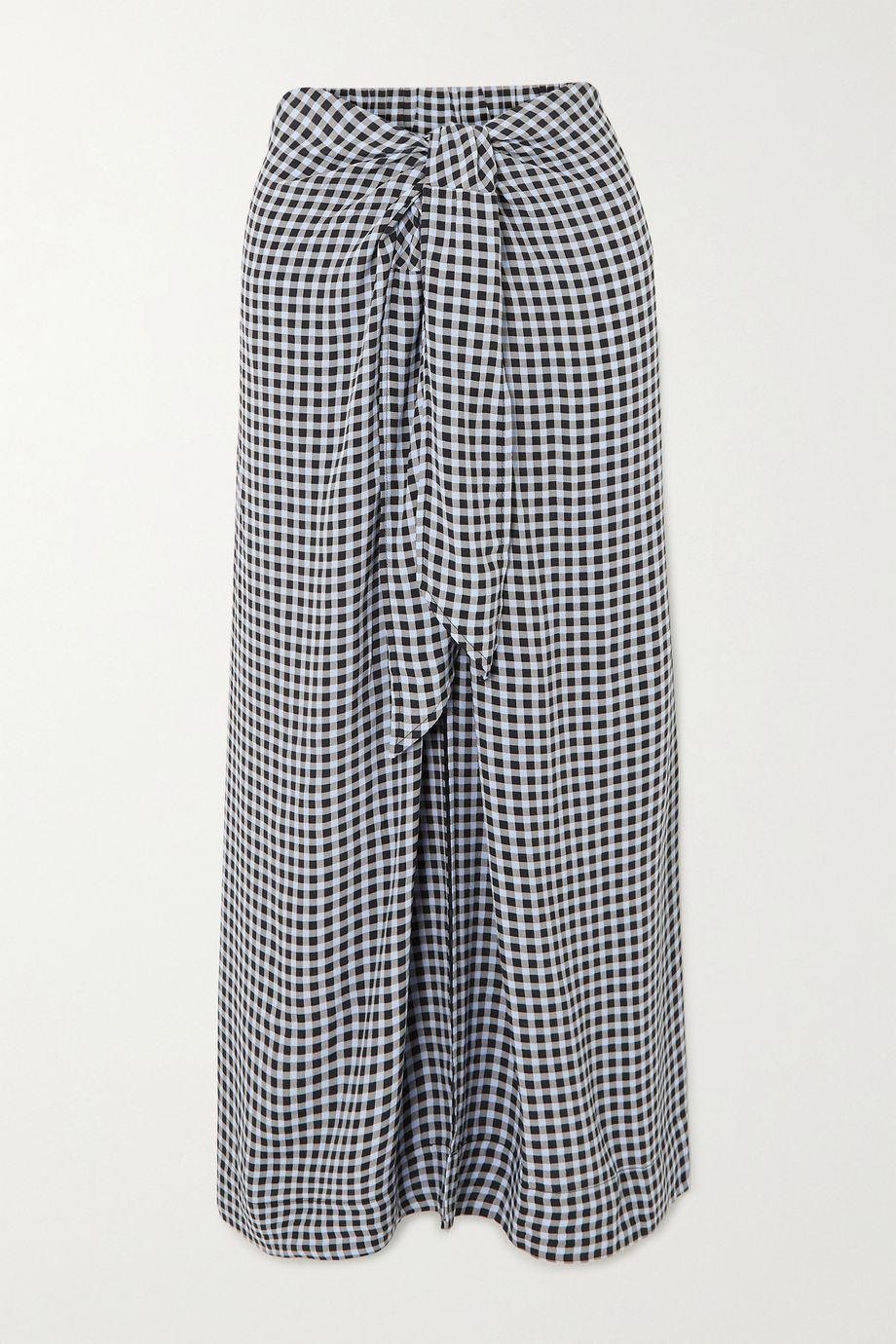 GANNI Tie-front checked crepe midi skirt