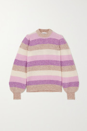 GANNI Striped ribbed-knit sweater