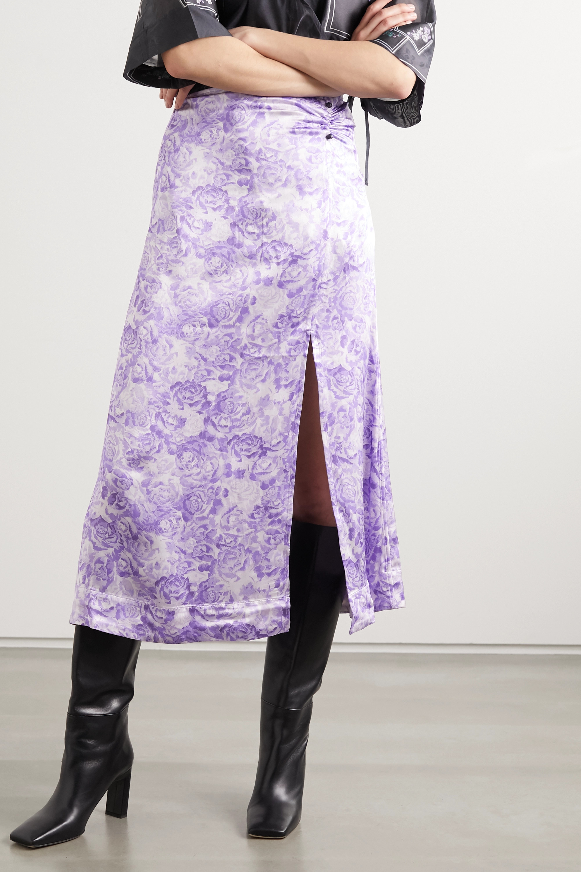 GANNI Floral-print satin midi skirt