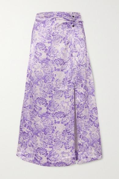 Ganni Floral-print Satin Midi Skirt In Lilac