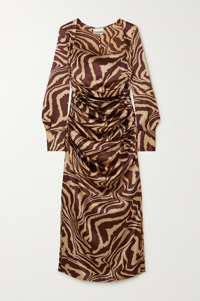 Ganni Tiger Stripe Stretch Silk Long Sleeve Silk Midi Dress In Zebra Print