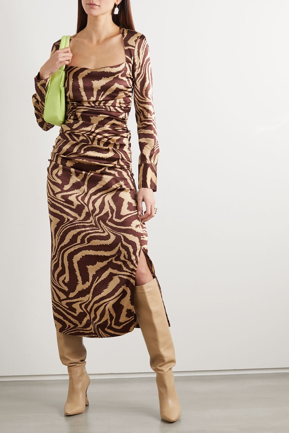 GANNI Ruched zebra-print stretch-silk satin midi dress