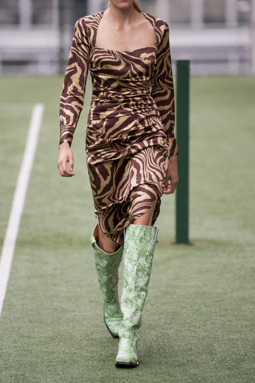 GANNI Ruched zebra-print stretch-silk satin midi dress