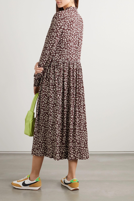 GANNI Printed crepe midi dress