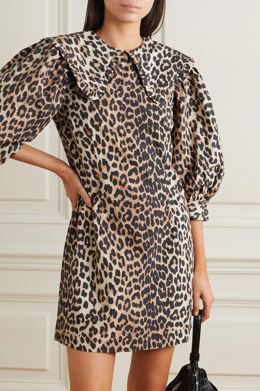 GANNI Mini-robe en popeline de coton à imprimé léopard