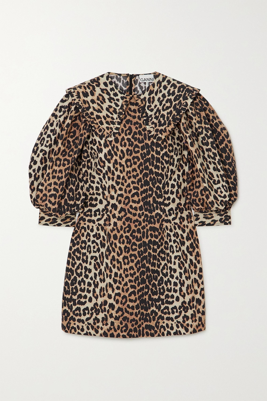 GANNI Leopard-print cotton-poplin mini dress