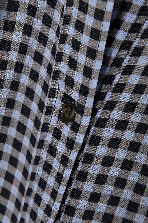 GANNI Robe-chemise longue en crêpe à carreaux vichy