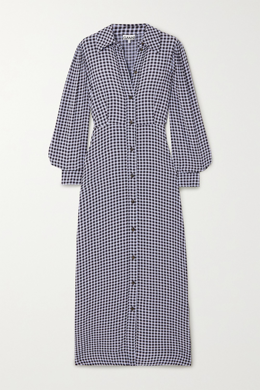 GANNI Maxi-Hemdblusenkleid aus Crêpe mit Gingham-Karo