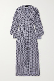 GANNI Gingham crepe maxi shirt dress