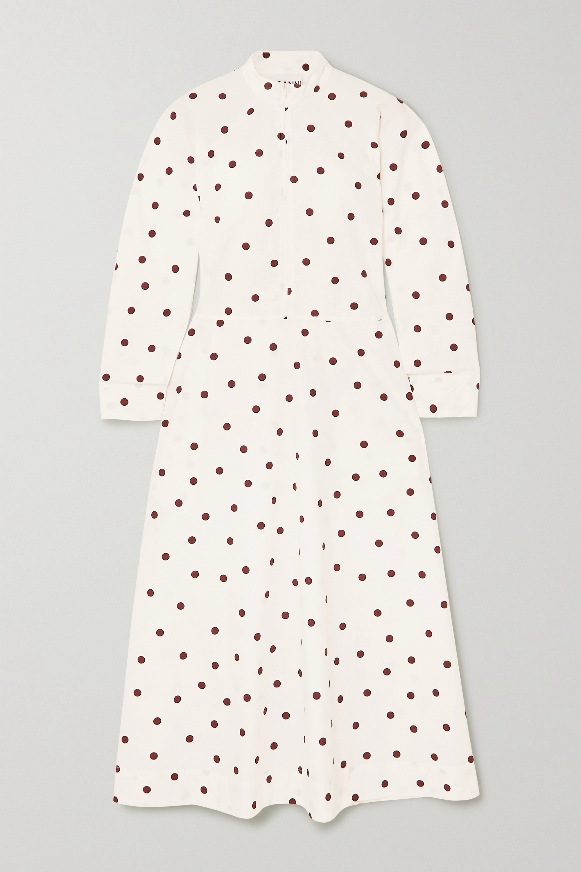 GANNI Polka-dot cotton-poplin maxi dress