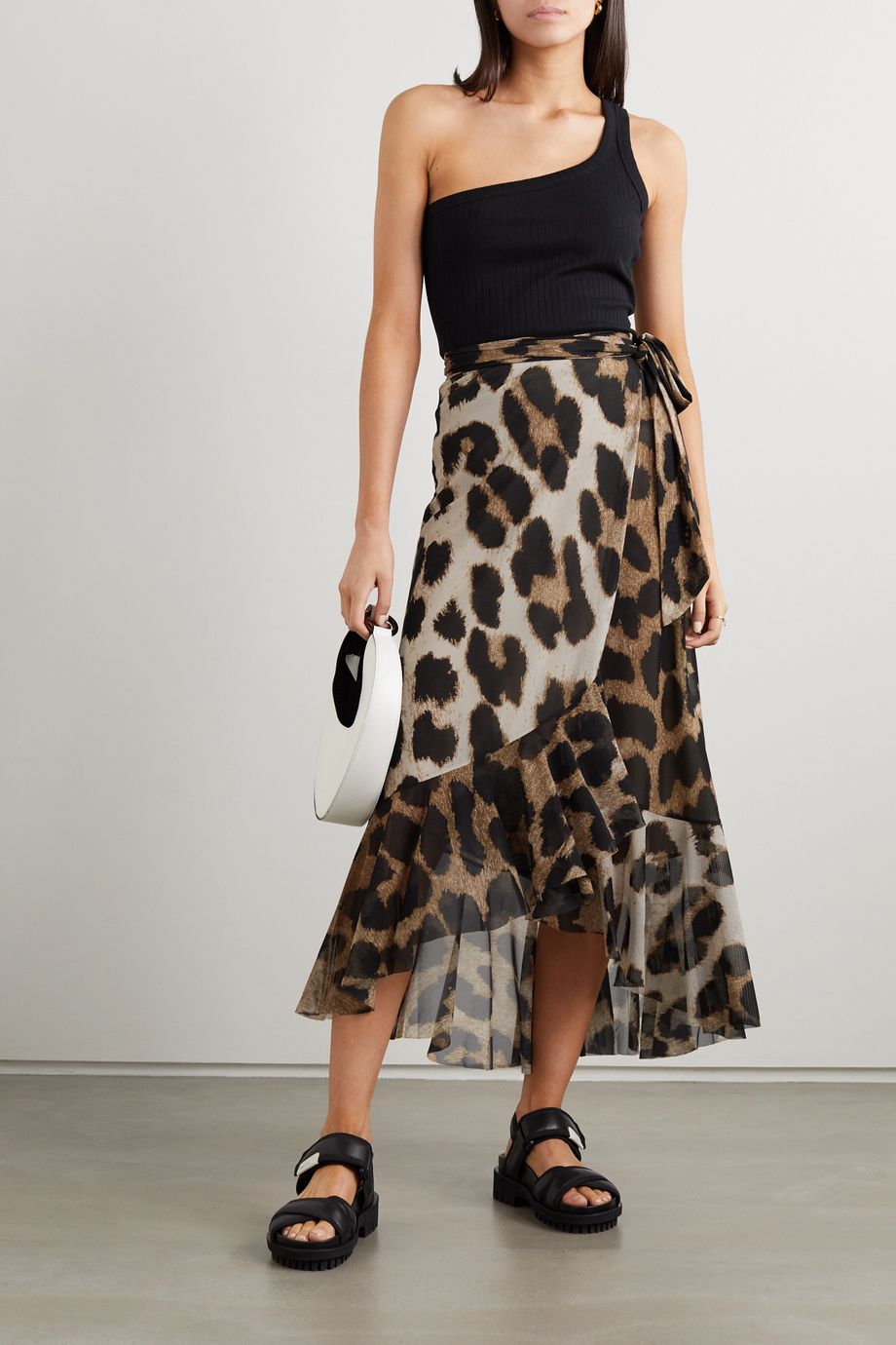 GANNI Ruffled leopard-print stretch-mesh wrap skirt