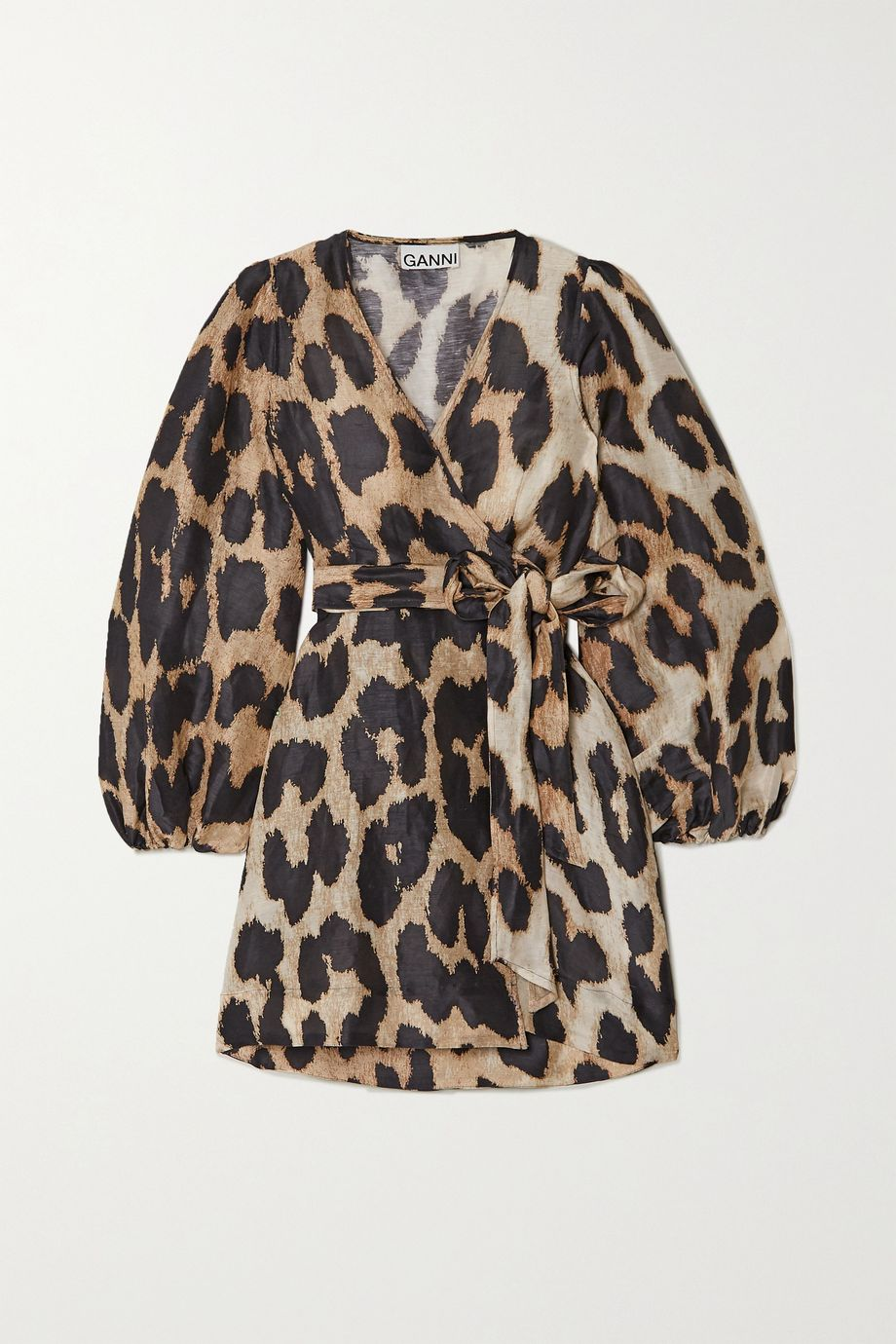GANNI Leopard-print linen and silk-blend wrap mini dress